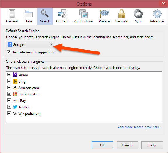 Change Default Search Engine on Firefox