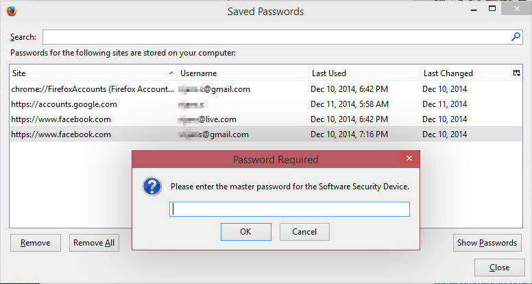 Lock Firefox saved passwords