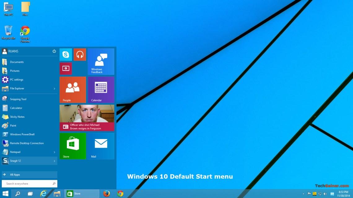 Windows 10 default start menu style and theme