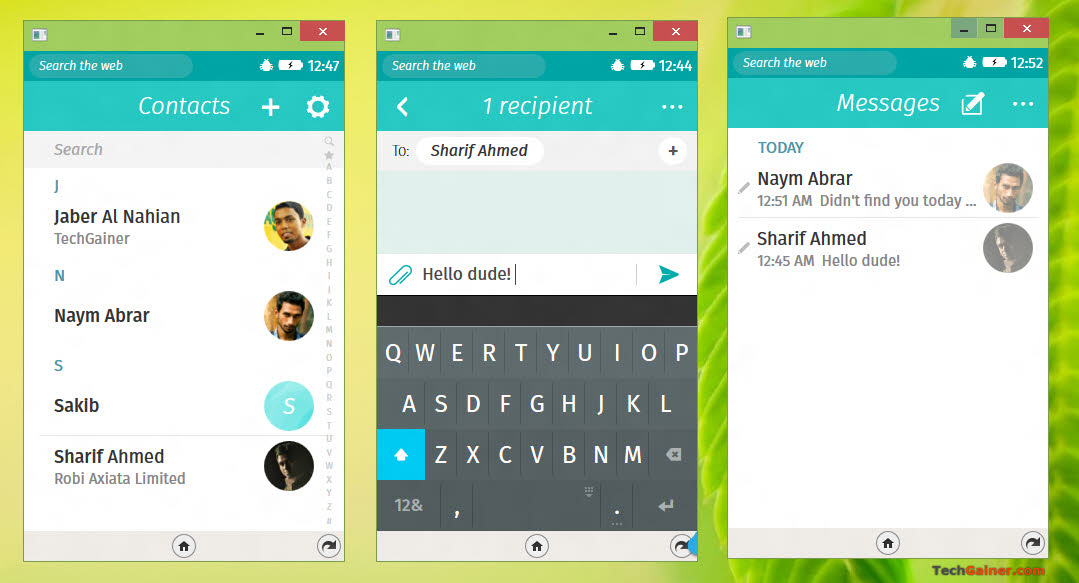 Firefox OS messaging and contacts app