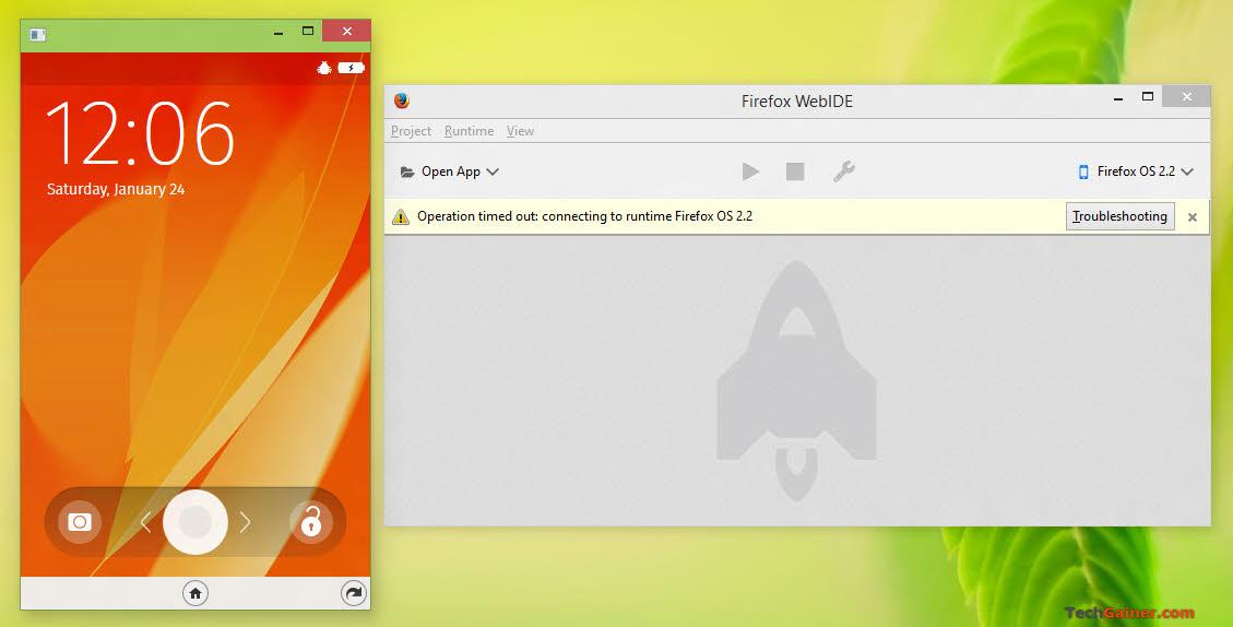 Firefox OS simulator running in an individual window