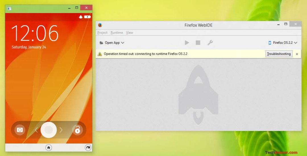 Firefox OS simulator running in an individual window