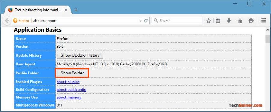 Show Firefox profile folder