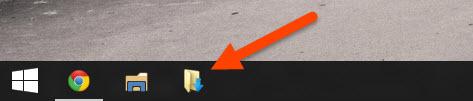 Folder pinned to Taskbar