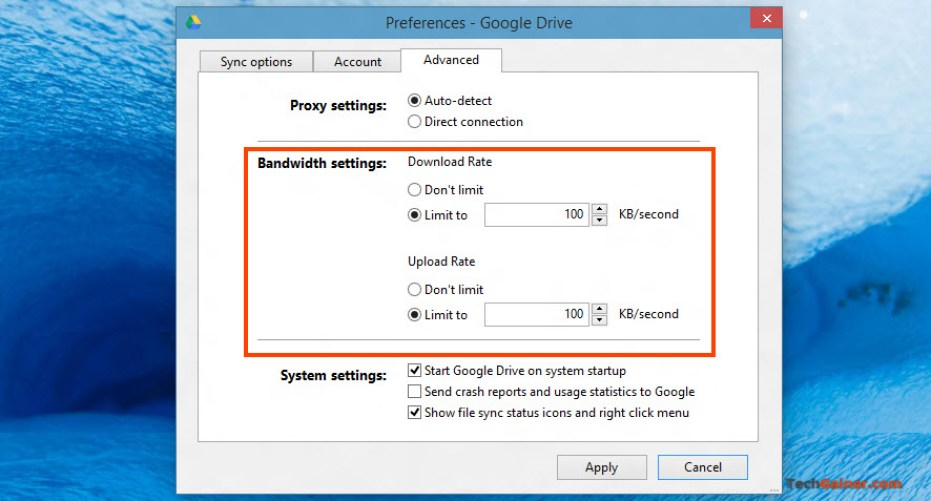 Limit Google Drive bandwidth rate
