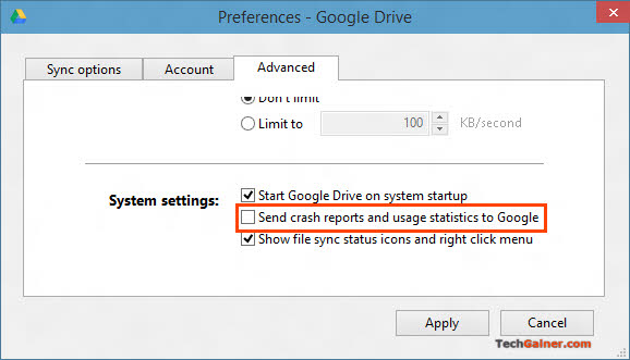 Disable Google Drive Crash Reports