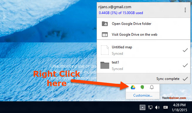 Right click on Google Drive system tray icon