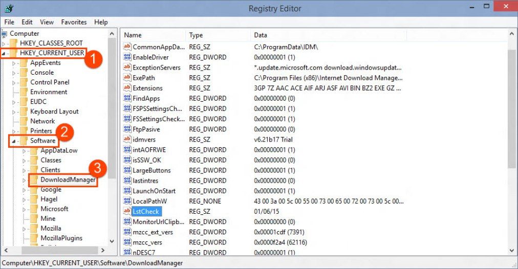 Download Manager entry in Registry Editor