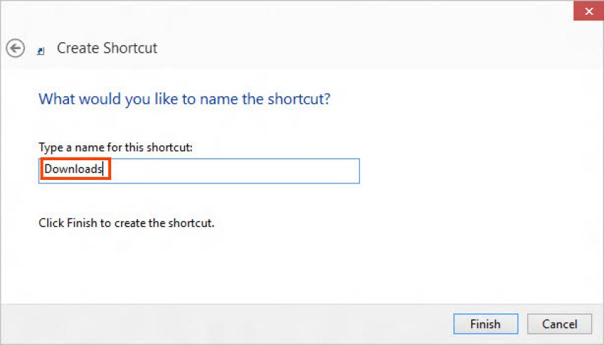 Set a name to shortcut
