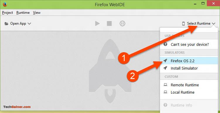 Run Emulator from Firefox WebIDE