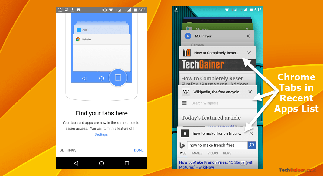 How to Disable Chrome Tabs from Appearing in Android 5.0 Recent Apps Menu