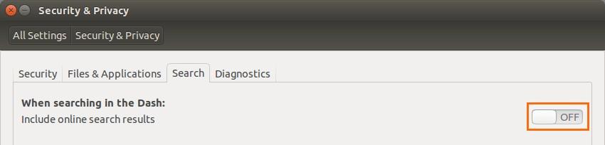 Ubuntu Search & Privacy Settings