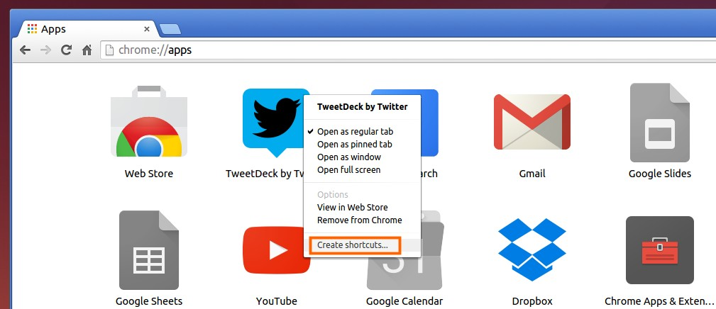 Right-click on Chrome app
