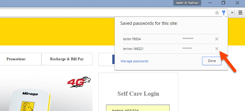 Chrome on-page password manager