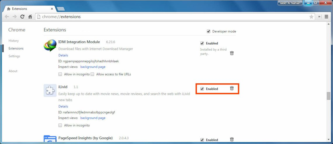 Disable extensions in Chrome