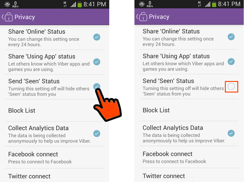 Block Viber from sending your message seen