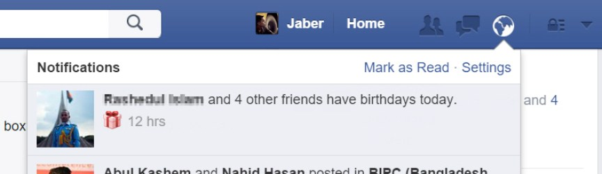 Birthday notification in Facebook