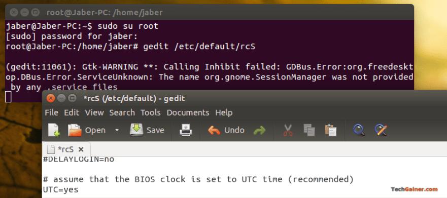 Open rcS file in gedit