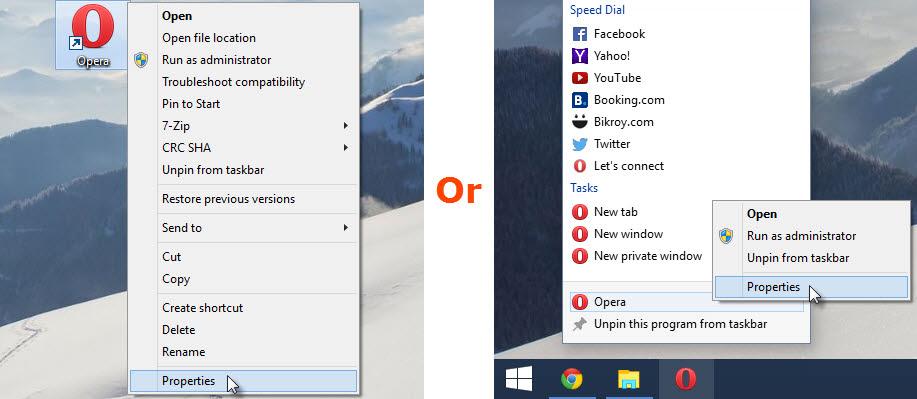 Access Opera shortcut Properties