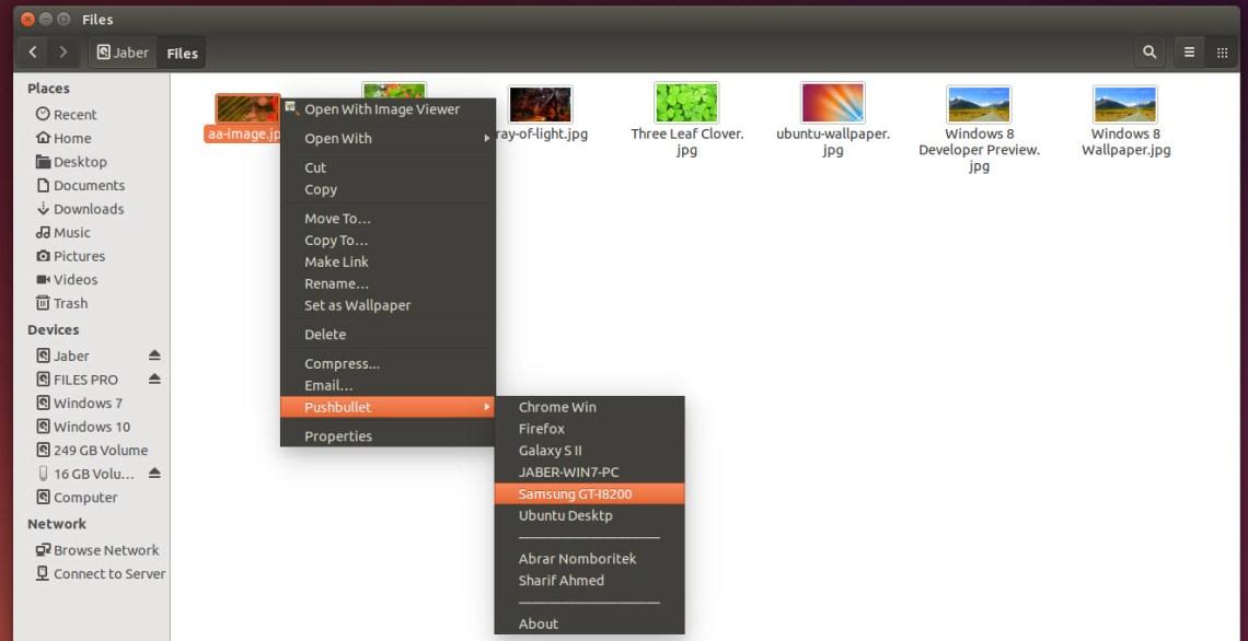 Send files to Pushbullet in Ubuntu Files