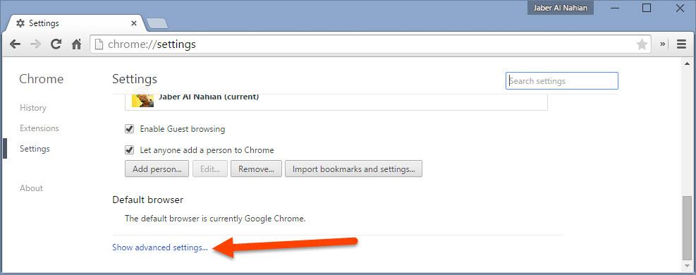 Open Chrome advanced settings