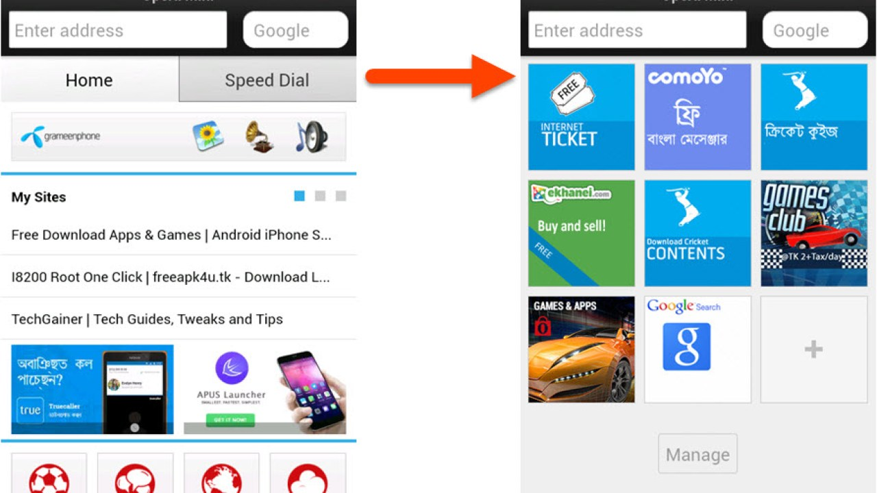 Disable 'Home' Tab in Opera Mini on any Phone | TechGainer