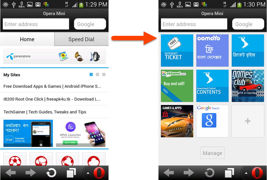 How to Disable 'Home' Tab in Opera Mini on any Phone