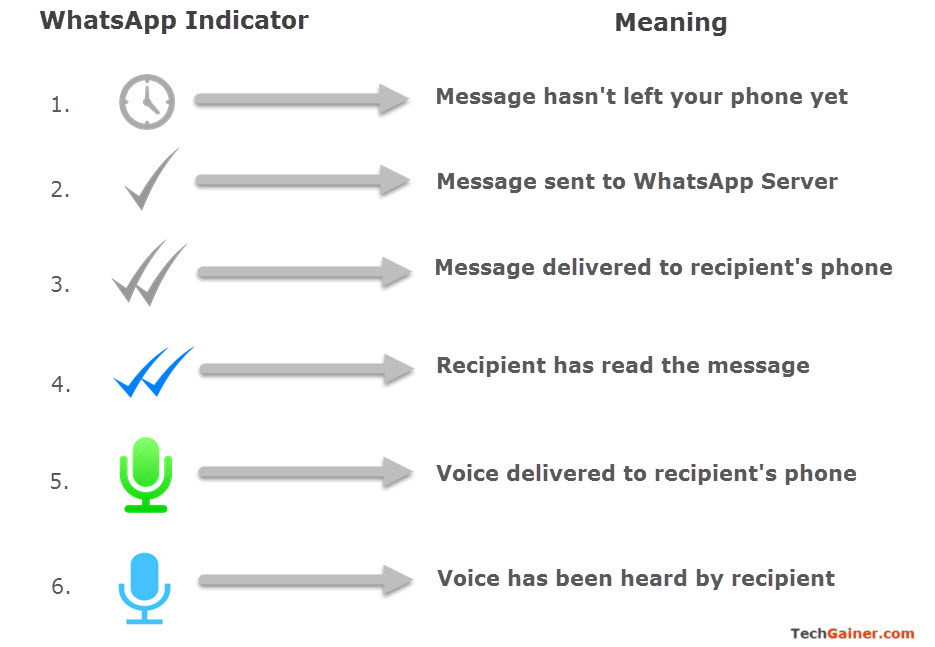 WhatsApp Message 'Sent', 'Delivered' and 'Read' Status Identification using Indicators and Tick Marks