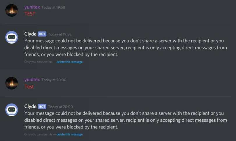 How to tell if someone blocked you on Discord clyde bot
