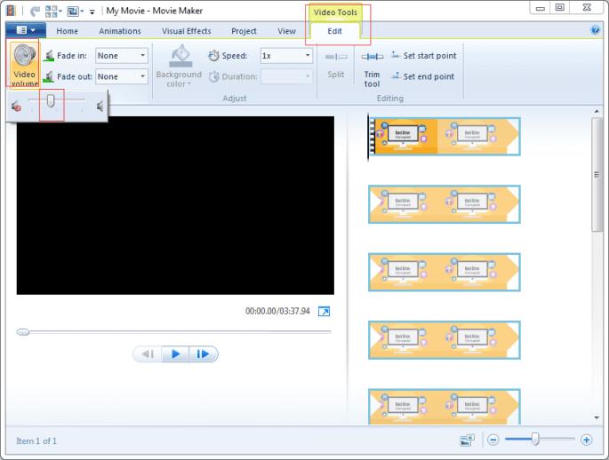 remove audio from video windows movie maker