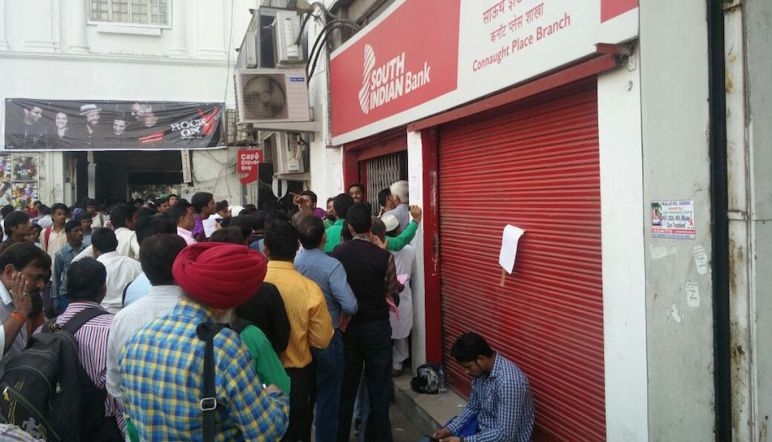 Queues snaking out of banks have been a common sight across India for weeks. Photo credit: Harsimran Julka.