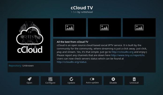 cCloud TV Live TV Kodi