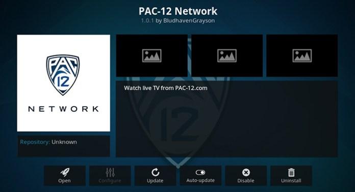 Pac 12 Network Kodi Addon