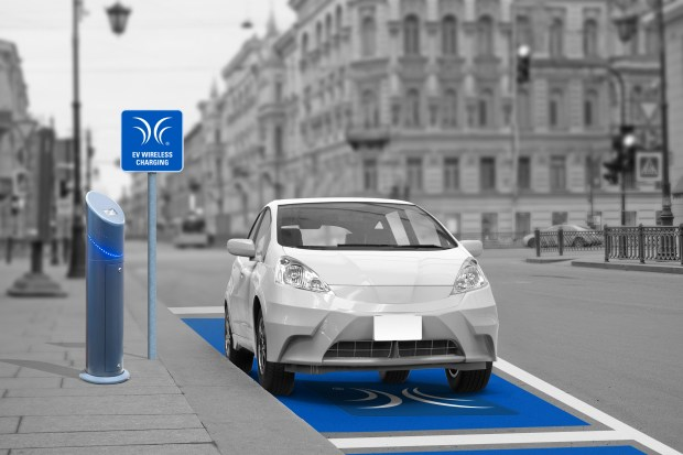 Rendering of car on charging platforms in an urban setting.