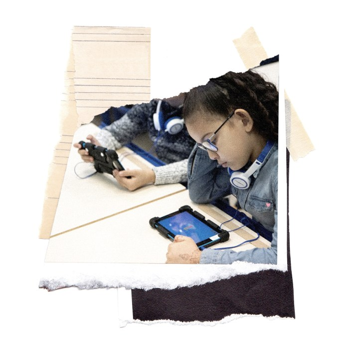 collage of imagery showing a young student using a tablet in the classroom