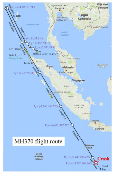 """Image of map that reads """"MH370 flight route"""""""