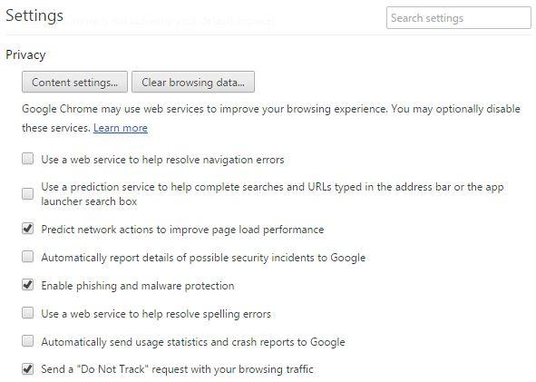 Optimum browser privacy settings for Google Chrome