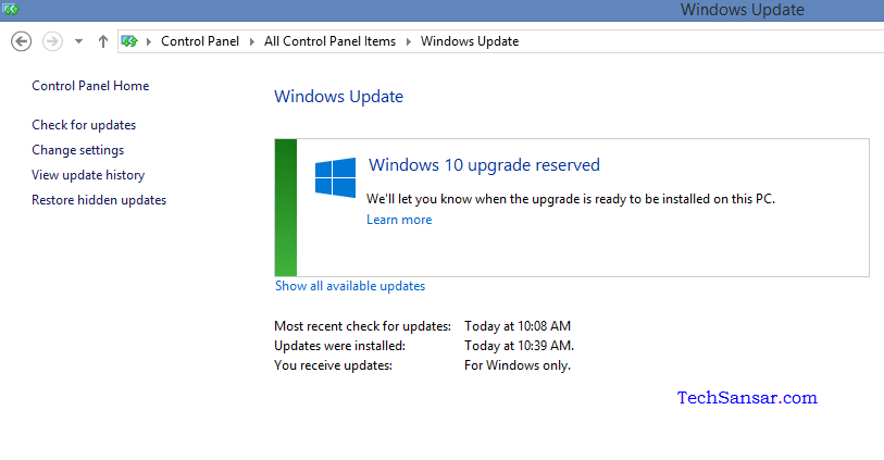 Windows 10 upgrade reserved Control panel confirmation