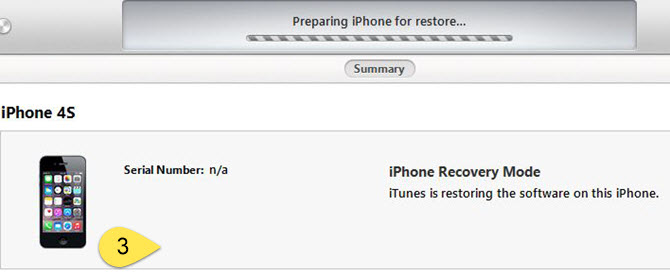 iPhone recovery mode - Preparing iPhone for restore