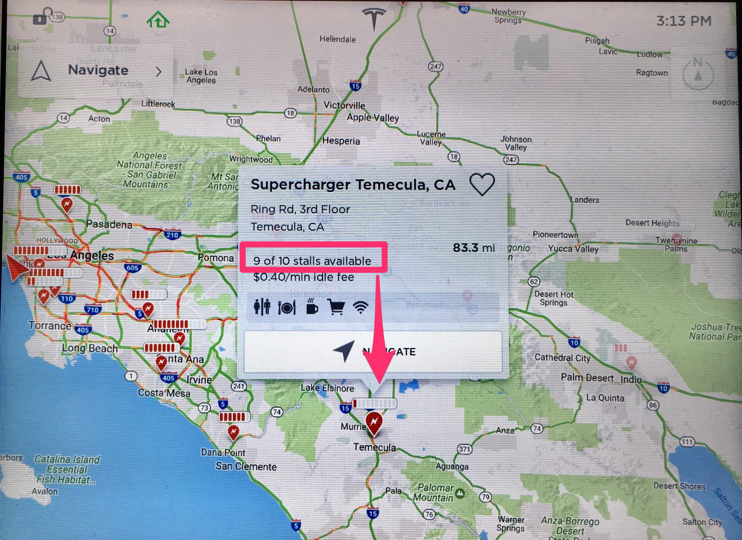 Tesla unlocks real time Supercharger occupancy data on vehicle map