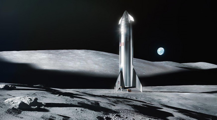 steel Starship Moon render (SpaceX) 1 - TESLARATI