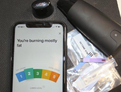 Lumen app and a ketone strip