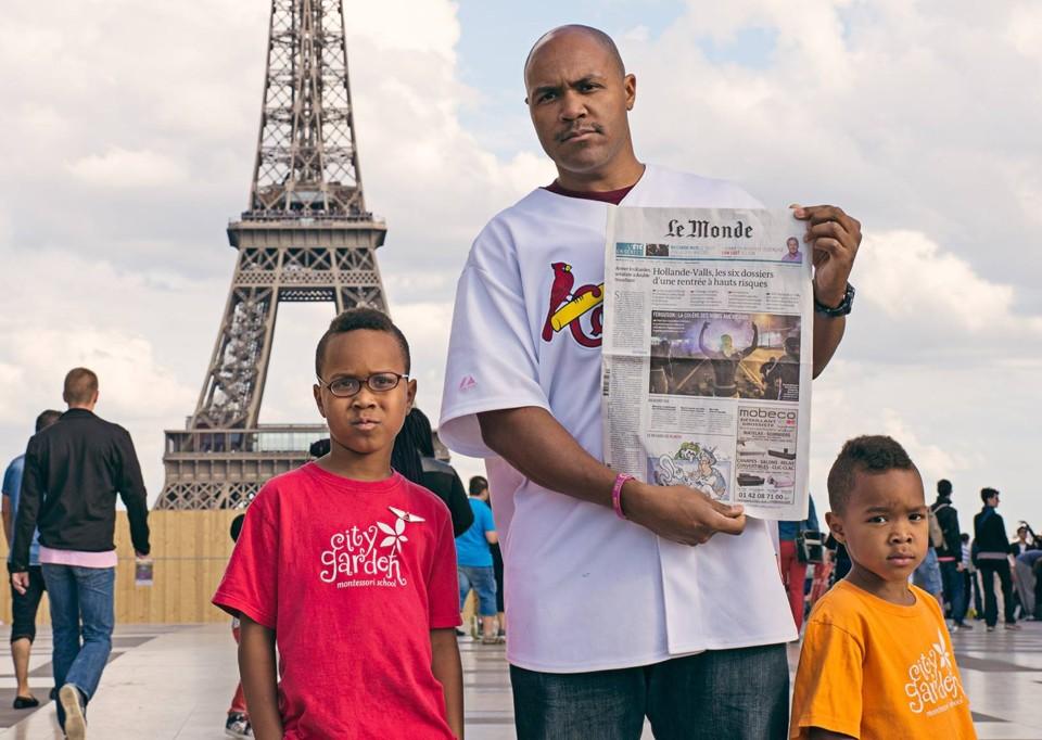 Le Monde paper in Paris, with photo about Ferguson