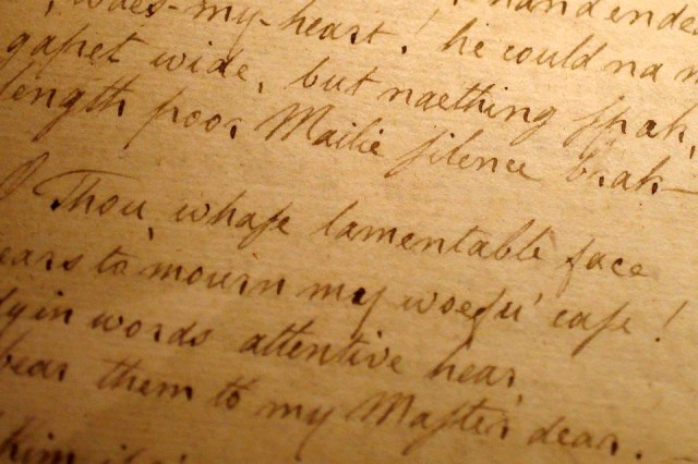 A handwritten manuscript by the Scottish poet Robert Burns