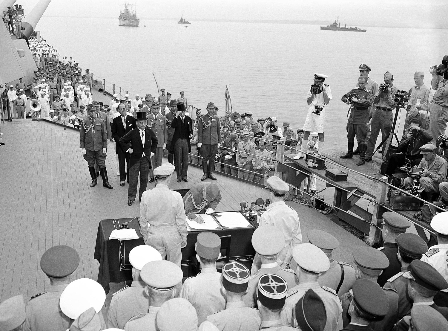Aboard The Battleship Missouri As The Japanese Surrender Documents Were Signed In Tokyo Bay On