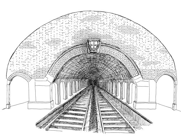 Drawing of a tunnel on the New York subway