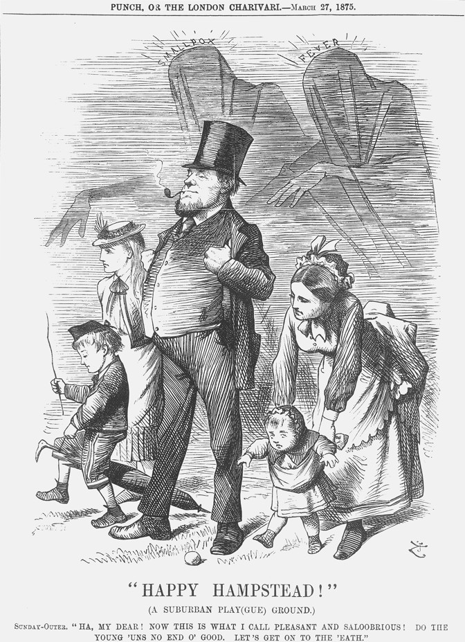 An 1875 cartoon of a family enjoying time outside while smallpox and fever lurk behind them