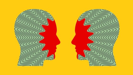 Artwork depicting two heads facing each other, with red faces and green heads with black zigzags spreading from their faces.