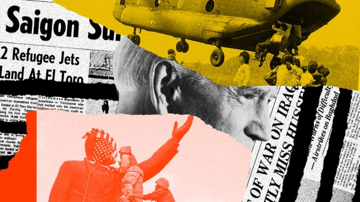 Collage of U.S. military, Joe Biden, and archival newspapers with war headlines.