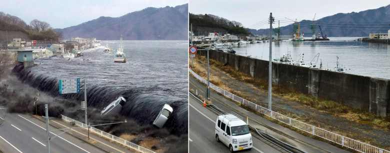 Two photos. The left side shows ocean water overflowing a seawall, carrying boats and cars with it. The right photo shows the same harbor, but years later, with quiet water.